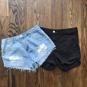 Bundle of TWO High-Waisted Jeans and Cotton Shorts